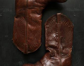 Vintage Code West leather western cowboy boots Size 7 1/2M