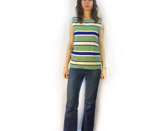 Vintage retro unisex 50s 60s striped sleevless top