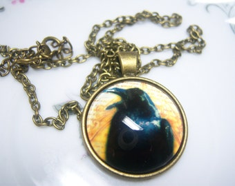 Cute Crow Raven Cabochon Bronze Glass Chain Pendant Necklace, Raven Jewelry, Crow Jewelry, Bird Lover Necklace, Bird Collector, Bird Pendant