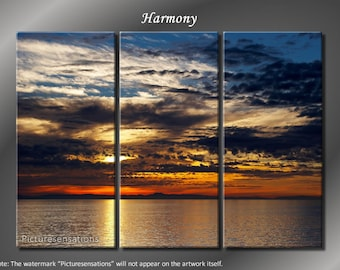 Framed Huge 3 Panel Calm Ocean Sunset Harmony Giclee Canvas Print - Ready to Hang