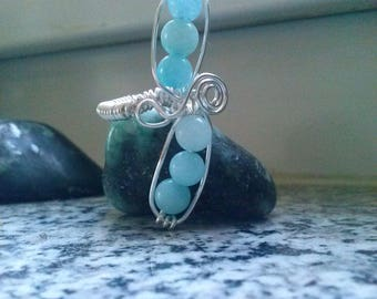 Silver gemstone ring,ARTISAN WIREWORK Ring,wire wrapped Aquamarine ring,blue stone ring,crystal statement ring US size aprox 6 by magyartist