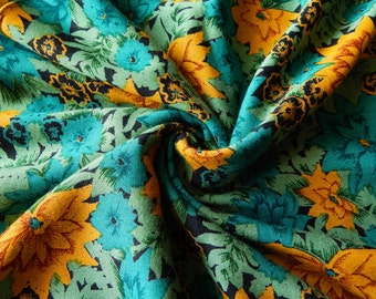 1 yard of Rayon Fabric, Indian Fabric, Floral Print Fabric, Teal Green Rayon Fabric