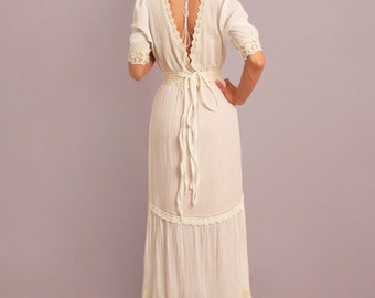 Boho wedding dress, rustic wedding dress, bohemian wedding dress, V-neck, backless dress, cotton wedding dress, alternative wedding dress