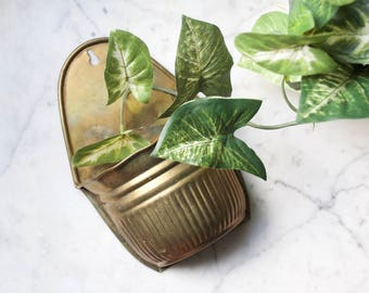Vintage Brass Wall Planter | Bohemian Wall Pocket