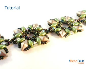 DiamonDuo Bead Patterns - DiamonDuo Bracelet Tutorials - Beaded Bracelet Patterns - Beading Patterns and Tutorials - Picture Frame Bracelet