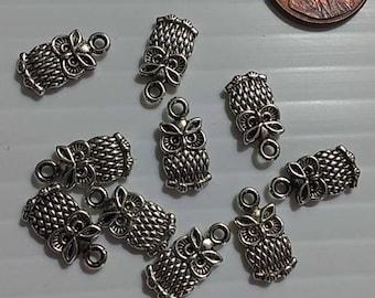 Silvertone Owl Charms