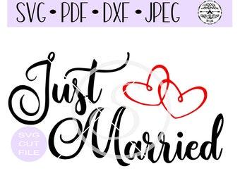 Just Married Wedding Couple SVG digital cut file for htv-vinyl-decal-diy-plotter-vinyl cutter-craft cutter- SVG - DXF & Jpeg formats.