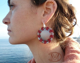 Leather sewing red/titanium Stud Earrings
