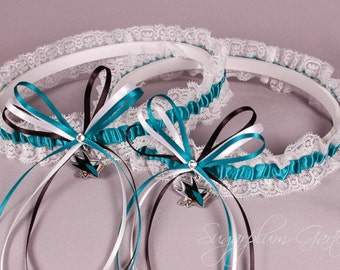 San Jose Sharks Lace Wedding Garter Set