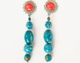 Earrings Novelove #long and summertime beadsearrings#handmade turquoise and orange earrings#vintage style and original jewellery#handmade