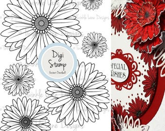 3D Daises, Digi Stamps, Individual Flowers, Decoupage, Clipart Flowers, Daisy, Flower Digital Stamp, Colouring Page, Papercraft, Card Topper