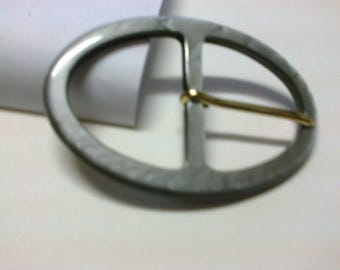 Grey plastic passage 3.7 cm oval buckle * BO76 *.