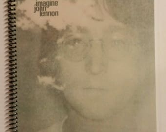 """John Lennon Spiral Notebook Hand Made from Recycled Vinyl Record Album Cover """"Imagine"""""""