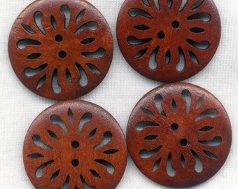 Lacy Buttons Cut Out Filigree Wooden Buttons Rusty Brown 30mm (1 1/4 inch) Set of 8 /BT252C
