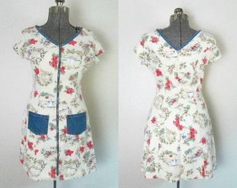 Denim Kitsch Print Mini Dress Vintage Zipper Front 1980s Paris Blues All Cotton Casual School Play
