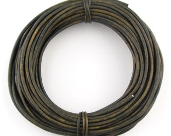 Military Green Round Leather Cord 1.5mm 25 meters (27.34 yards)