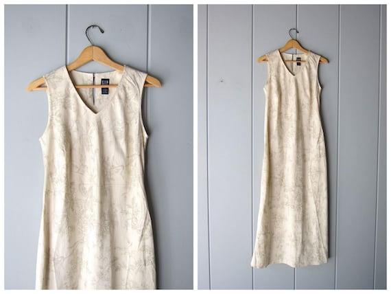 LINEN Dress Natural Beige Minimal Long Preppy Dress Vintage 90s FLORAL Linen Sun Dress Linen Maxi Dress Womens Small Medium Size 6