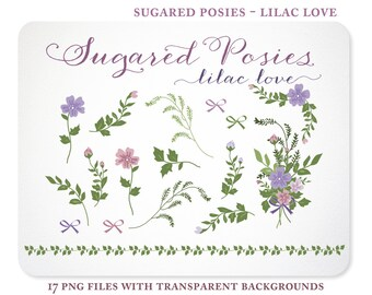 Purple Posies Florals, Greens, and a Bouquet - Hand Drawn  - Instant Download