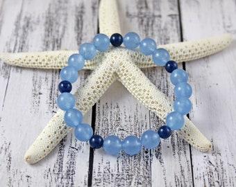 Aquamarine & Apatite March Birthstone Bracelet