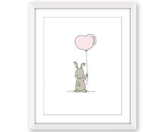 Woodland Nursery Art -- Bunny Heart Balloon -- Bunny Nursery Art -- Children Art -- Kids Wall Art