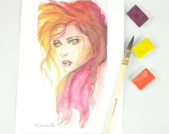 Woman face with red hair, watercolor, contemporary painting, copy of author, gift idea, modern decore, wall art, home office decoration.