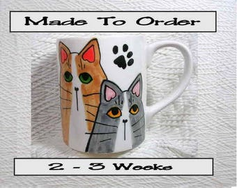 Made To Order Two Cats On 12 Oz. Ceramic  Handpainted by Grace M. Smith