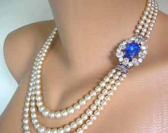 Sapphire And Pearl Necklace, Pearl Choker, Wedding Necklace, Bridal Jewelry, Great Gatsby, Art Deco, Vintage Pearls, Vintage Wedding Jewelry