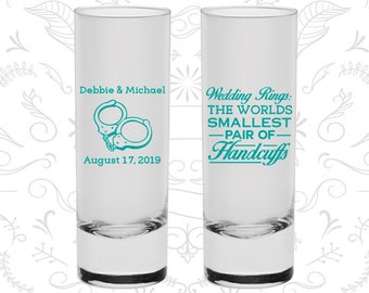 Wedding Rings, The Worlds Smallest Pair of Handcuffs, Customized Shooters, Handcuffs, Tall Shot Glasses (503)