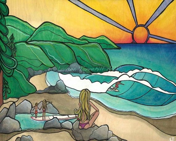 Canvas Print Surf Family Mountains, Beach and Sunset by Lauren Tannehill ART