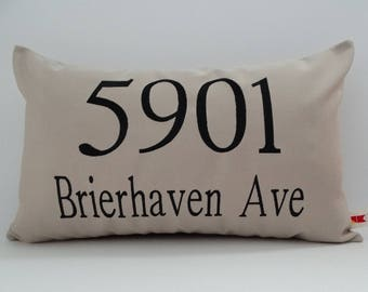 Sunbrella STREET ADDRESS PILLOW cover outdoor home address pillow house number personalized wedding  gift number pillow home oba canvas co