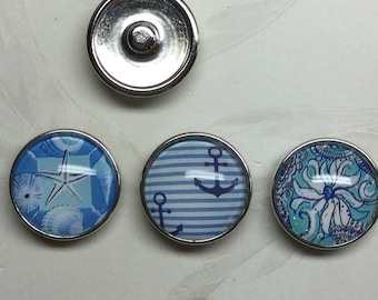 Set of 3 Blue and Beachy 20mm Snap Charms