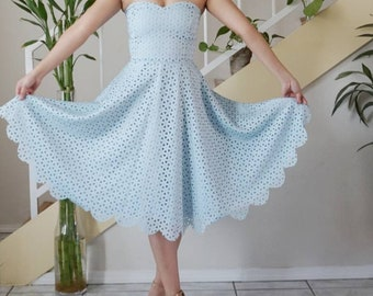 Sweetheart bodice dress/ strapless dress/scalloped dress