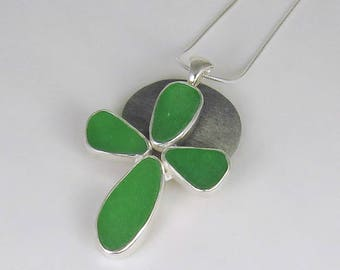 Green Sea Glass Cross Crucifix Bezel Pendant Necklace Maine