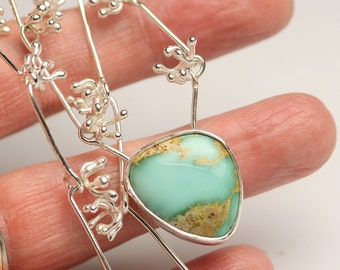 Turquoise, Sprouts and Twig Links Necklace