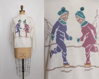 vintage 80s ice skating sweater novelty print