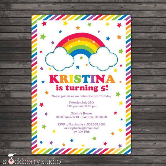 Rainbow Birthday Party Invitations Rainbow 1st Birthday