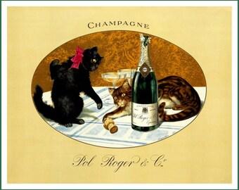 Art Print Cats Pol Roger Champagne Ad - 1900 - Print 8 x 10