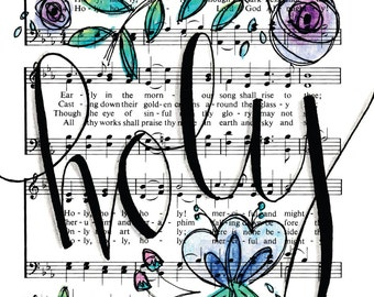 Holy Holy Holy Lord God Almighty 5x7 Print Hymn Fine Art Hymnal Watercolor Painting Praise Sheet Music Hand Lettering Calligraphy War Room