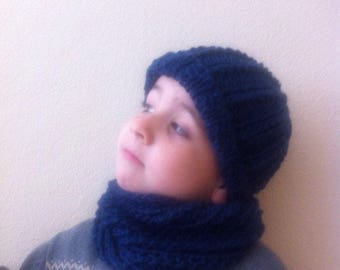 Child's blue hat and cowl set, child Infinity Scarf with hat, toddler scarf and hat set, toddler's blue navy cowl with hat