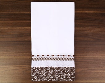 Floral Hand Embroidered Tea Towel - Swedish Weaving - UK