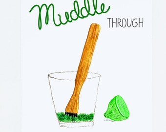 Thanks for Helping Me Muddle Through Greeting Card - Culinary Foodie Card