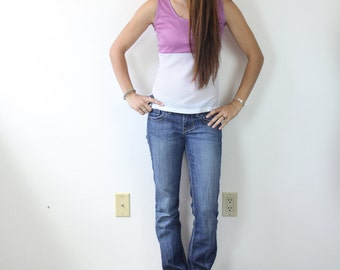 Vintage Retro  Pink and White Track Tank Top