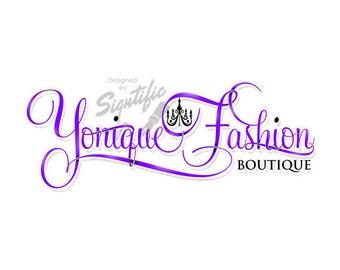 Fashion boutique logo - couture logo - custom logo with chandelier - pre-made logo - calligraphy logo - boutique logo - logo in any colors