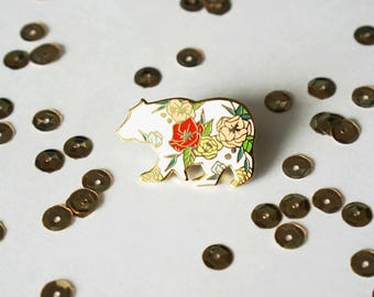 "Floral Bear Hard Enamel Pin - 1.25"" Gold Plated"