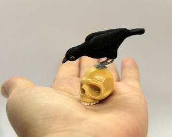 Human skull and Raven on the skull Tiny skull Raven for witch Crowfor witch  Fairy raven Wool raven Felted raven Tiny needle felted birds