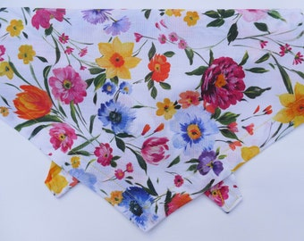 Summer Floral Dog bandana. High Quality, Tie on style. 100% cotton, handmade by Dudiedog UK. Worldwide shipping, free UK delivery, 7 sizes!