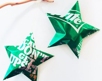 Sprite Stars Don't Get Upset, Rakim Quote, Rapper Christmas Ornaments Soda Can Upcycled