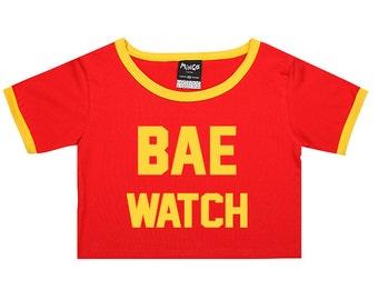 Bae Watch Ringer Top Crop Womens Girls T Shirt Tee Tumblr Hipster Grunge Retro Boho Festival Kawaii Swag Summer Lifeguard Baywatch Red