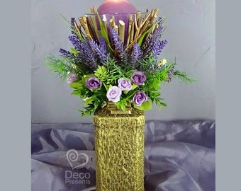 """Decorative candlestick with flowers """"Lavender"""", decor Provence, rustic style"""