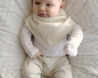Bandana Bib | Ivory White Baby Bib | Minimal Baby | Baby Girl Baby Boy | Drool Bib | Kerchief Bib | Simple Minimal Baby